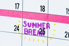 Summer break calendar reminder closeup royalty free stock photos
