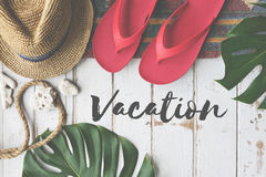 Summer Break Lifestyle Flipflop Vacation Words Concept Royalty Free Stock Images