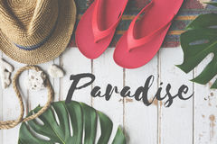 Summer Break Lifestyle Flipflop vacation Words Concept. Summer Break Paradise Flipflop Words Concept stock images