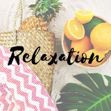 Summer Break Lifestyle Oranges Vacation Words Concept Stock Photo
