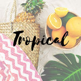 Summer Break Lifestyle Oranges Vacation Words Concept Stock Images