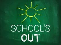 Summer break text on green blackboard Stock Photo