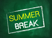 Summer break text on green blackboard Royalty Free Stock Images