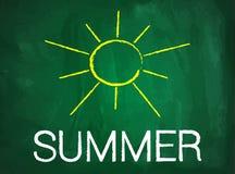 Summer break text on green blackboard Stock Images