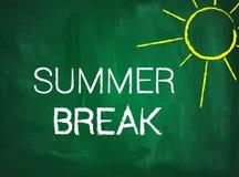 Summer break text on green blackboard Royalty Free Stock Images