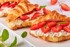 Summer breakfast - croissant sandwiches, top view Stock Photography