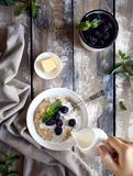 Summer breakfast with blackberry royalty free stock images