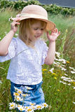 little girl in wild daisy field Royalty Free Stock Photos