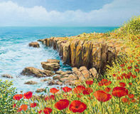 Summer Breeze. An oil painting on canvas of a coastal summer seascape with a breeze blowing from the sea and vivid red poppies blooming on the cliffs high above Royalty Free Stock Images