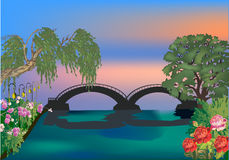 Summer bridge and green trees Royalty Free Stock Photo