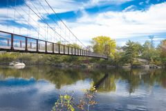 A summer on a bridge. I took this photo in Maine, it is called the Historic Bridge in Brunswick, the masterpiece stands strong. It was during fall, it had not Royalty Free Stock Photography