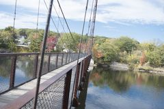A summer on a bridge. I took this photo in Maine, it is called the Historic Bridge in Brunswick, the masterpiece stands strong. It was during fall, it had not Stock Images