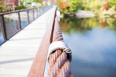 A summer on a bridge. I took this photo in Maine, it is called the Historic Bridge in Brunswick, the masterpiece stands strong. It was during fall, it had not Stock Image