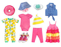 Summer bright baby child girl clothes isolated set. Stock Photography