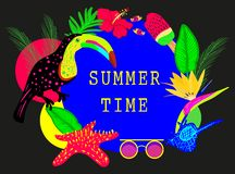 Bright colorful summer time vector neon banner stock illustration