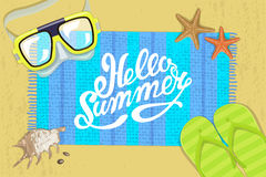 The summer bright composition of inscription.  Vector illustration. Composition of inscription, waterproof mask, pair of flip-flops, starfish, mat, shell Royalty Free Stock Photography