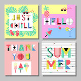 Summer bright memphis style cards set. Design with geometric elements food. On decorative colorful frame vector illustration stock illustration