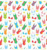 Summer bright pattern with woman swimsuits  on white Royalty Free Stock Photos