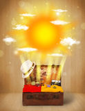 Summer bright sun with clouds and tourist bag Stock Images