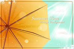 Summer bright sunny vintage background. Umbrella under the blue Stock Photos