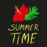 Bright summer time vector neon banner stock illustration