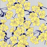 Summer bright yellow blooming flowers  with blue leaves on the l. Ight grey striped background. Vector seamless pattern. Romantic garden flowers illustration Royalty Free Stock Images