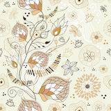 Summer Brown seamless floral pattern Royalty Free Stock Photo