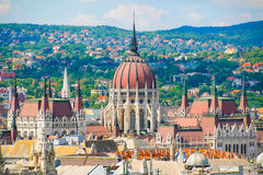Summer Budapest. Panorama of The town and the Parliament in Budapest. Royalty Free Stock Photo