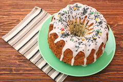 Summer Bundt Cake Topped with Sugar Glaze Stock Photos