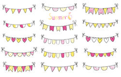 Summer buntings with black outlines Stock Image