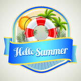 Summer buoy badge. With coconut tree in background Stock Photos