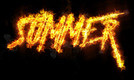 Summer burning word written text in flames. On black background Stock Image