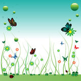 Summer with butterflies. Abstract colorful background with flowers, butterflies, green clovers and a small ladybird. Summer concept Royalty Free Stock Image