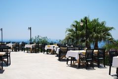 Summer Cafe. Empty Summer Cafe with the Sea View Stock Photography