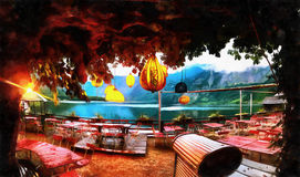 Summer cafe. Fantastic views of the town between the mountains. Hallstatt. Austria Royalty Free Stock Photography