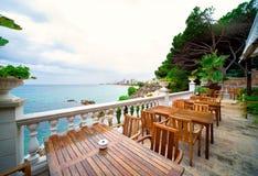 Summer cafe near the mediterranean sea Royalty Free Stock Photography