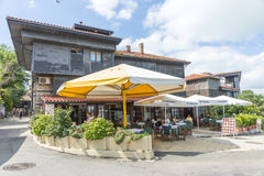 Summer cafe in old Nessebar, Bulgaria Stock Photos