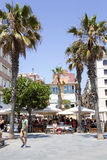 Summer cafe on Passeig Maritim  at Barceloneta beach Stock Images