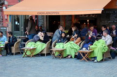 Summer cafe in Stockholm Stock Photos