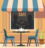 Summer cafe and table with chairs. Street restaurant. Vector Royalty Free Stock Photo