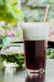 Summer, cafe , terrace, large glass tumbler of refreshing coffee glissade Royalty Free Stock Photography
