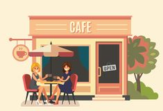 Summer cafe and two girl. Street restaurant. Vector Royalty Free Stock Image