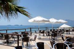 Summer cafe veranda. Very beautiful summer cafe veranda with a view to a sea Stock Image