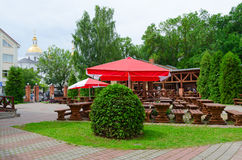 Summer cafe Yard at Golden Lion, Vitebsk, Belarus Royalty Free Stock Photos