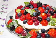 Summer cake with cream and berry. Stock Photography