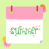 Summer calendar green pink floral Royalty Free Stock Photos