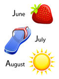 Summer calendar - june, july, august. Typical objects of summer calendar Stock Images