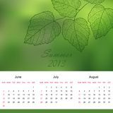 Summer calendar page of new 2013 year vector Royalty Free Stock Photos