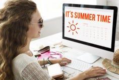 Summer Calendar Schedule Fun Happiness Concept Royalty Free Stock Photos