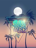 Summer california tumblr backgrounds set with palms, sky and sunset. Summer placard poster flyer invitation card. Summertime. Royalty Free Stock Photography